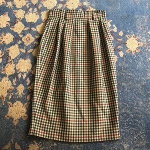 Vintage Plaid Wool Midi Skirt 6